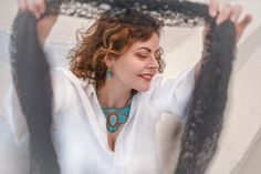 Smiles and necklaces – Alex Gurau Photo Female Portrait, Fashion Necklace, Dreadlocks, Portraits, Necklaces, Smile, Turquoise, Hair Styles, Photography