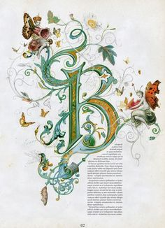 Illuminated letter BYou can find Illuminated letters and more on our website.Illuminated letter B Illuminated Letters, Illuminated Manuscript, Creative Lettering, Hand Lettering, Fancy Letters, Beautiful Calligraphy, Alphabet Art, Medieval Manuscript, Calligraphy Letters
