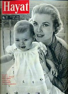 HSH Princess Grace of Monaco with her first child, Princess Caroline in 1957.