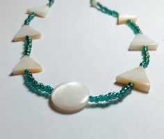 Triangle Mother of Pearl Beaded Necklace with Peacock by tzteja, $15.00
