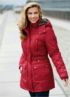 www.bonprix.eu Stylish Coat, Winter Day, Black And Navy, Fur Trim, Faux Fur, Shop Now, Leather Jacket, Jackets, Fashion