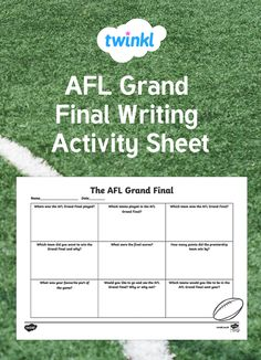 Have your children write and draw all about the AFL Grand Final. This resource features questions about the Grand Final and would be great as a discussion starter Writing Worksheets, Worksheets For Kids, Writing Activities, Australian Football League, Spring Vacation, Activity Sheets, Kids Writing, Finals, Draw