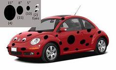 Volkswagen Bug Beetle Ladybug, Ladybug decals for VW Bug Beetle, VW Bug decals