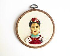 Frida Embroidery Hoop by litillustrationhouse on Etsy