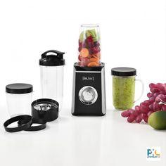Multifunkčný mixér a smoothie mixer značky [in.tec]® - kuchynský spotrebič s 9 funkciami - mixuje, mieša, melie, reže, seká, krája, šľahá, odšťavuje a uskladňuje, výkon: 220 W, materiál - nadoby: polykarbonát - kryt mixéru: ABS plat - nože: nerez, farba: čierna / strieborná