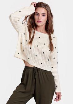 Effie Cropped Polka Dot Sweater