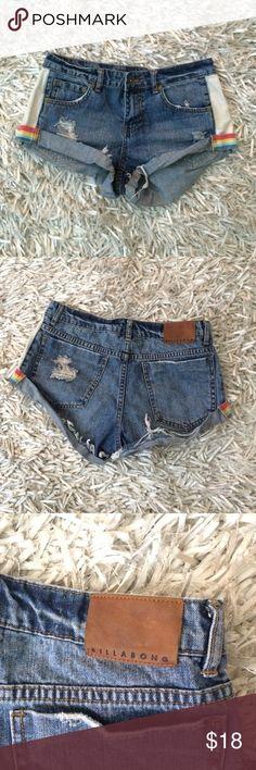 Billabong Size 26 denim shorts Billabong, never worn, size 26! Denim shorts with side rainbow detail on hem, and cuffed hem! Adorable pair of shorts! Billabong Shorts Jean Shorts