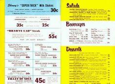 Typical Bob's Big Boy Menu in the early Page Hamburger Menu, Hamburger Patties, Big Boy Menu, Big Boy Restaurants, Pear Salad, Outdoor Theater, Retro Diner, Milkshake, Big Boys