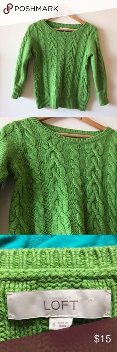 LOFT Cable Knit Sweater Nice green sweater for spring, excellent condition. Soft and cozy Sweaters Crew & Scoop Necks