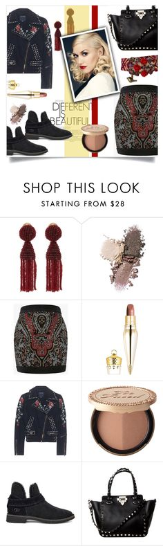 """The New Classics for Gwen Stefani"" by mahafromkailash ❤ liked on Polyvore featuring Oscar de la Renta, Balmain, Christian Louboutin, True Religion, Too Faced Cosmetics, UGG, rockerchic, GwenStefani, rockerstyle and polyvoreditorial"