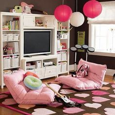 Hipster teen bedroom idea pink white brown