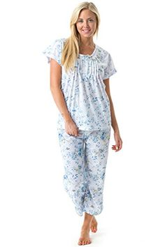 Casual Nights Womens Short Sleeve Floral Print Capri Pajama Set >>> Continue to the product at the image link.