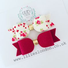 Floral hair clip, wool felt bow, raspberry pink bow, hair bow set, girls headbands, little girls bow, fashionable clips, flower hair clips by LiliesLondon on Etsy https://www.etsy.com/uk/listing/496837690/floral-hair-clip-wool-felt-bow-raspberry