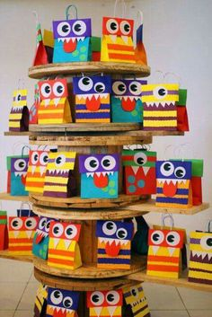 I always provide Birthday bags from the Birthday boy or girl. This is such a great way to carry the theme of the party home for your guests. Little Monster Birthday, Monster 1st Birthdays, Monster Birthday Parties, Baby Boy 1st Birthday, First Birthday Parties, First Birthdays, Little Monster Party, Monster Inc Party, Cookie Monster Party