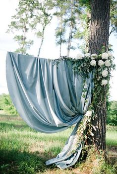 Dusty Blue Wedding Color Ideas for 2020 Dusty blue and greenery wedding backdrop Ceremony Backdrop, Outdoor Ceremony, Wedding Ceremony, Wedding Arches, Wedding Flowers, Wedding Venues, Classic Wedding Themes, Summer Wedding Colors, Dusty Blue Weddings