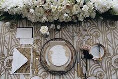 White & Gold deco table setup inspiration via Nuage Designs.