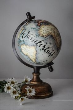 Wanderlust - Small, Gray Globe, Calligraphy, Travel Quotes, Wooden Base, Cream