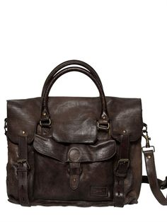 OFFICINE CREATIVE - VINTAGED LEATHER BAG - LUISAVIAROMA - LUXURY SHOPPING WORLDWIDE SHIPPING - FLORENCE
