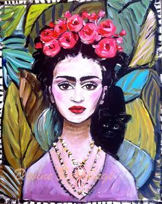 Frida Kahlo Painting Large by DevinePaintings on Etsy, $245.00