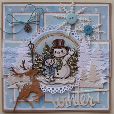 Trijntjes Kaarten: Schets Creaine  43 Die Cut Christmas Cards, Company Christmas Cards, Beautiful Christmas Cards, Christmas Card Crafts, Christmas Scrapbook, Christmas Greeting Cards, Holiday Cards, Snowman Cards, 3d Cards