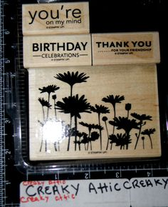 STAMPIN UP UPSY DAISY 4 RUBBER STAMPS BIRTHDAY FLOWERS