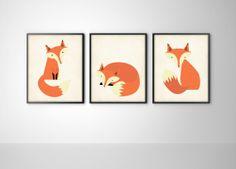 Volpi Set di tre Fox Art Print poster  arte vivaio di BySamantha, $26.00
