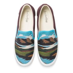 Inspired by the great Matanuska Glaciers in Alaska, Monica Sullivan's Bucketfeet design uses colors and defragmented shapes to depict the beauty of nature. This mix of warm and cool colors paints a landscape so beautiful it'll have you wanting to slip into these shoes and fly out to Alaska. <ul><li>Premium leather back</li><li>100% cotton lining</li><li>Artist-designed details & accents</li><li>Cushion & comfort bubbles</li><li>Removable in-sole</span></li><li>High-quality…
