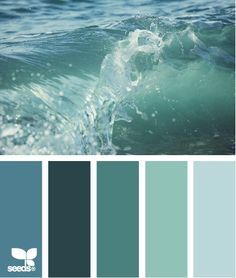Color splash. Blue / green colors inspired by water and waves. Love the sea greens. So calming.