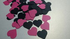 Heart Confetti, 100 Pieces, Black and Pink Heart Confetti, Girl Birthday Decorations, Birthday Confetti, 16 Birthday Party, Wedding Confetti by madgicalcreations on Etsy