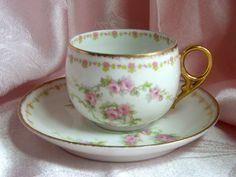 Antique Tea Cup-Limoges China | LIMOGES FRANCE - VINTAGE CUP AND SAUCER - OLD ABBEY - DEMITASSE ...