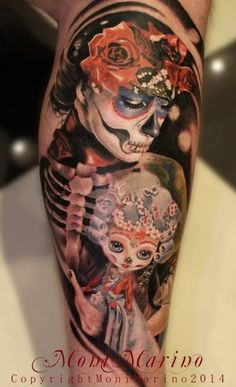 One can tell a day of the dead inspired tattoo when you see a skeleton and a big hat called sumbrero. Description from tattoo-models.net. I searched for this on bing.com/images