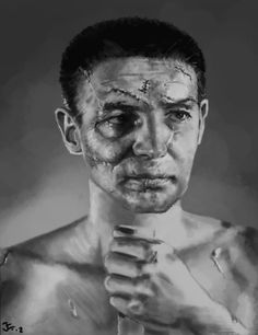 I'm ready for my closeup, Mr. deMille The face of Detroit Red Wings' hockey goalie, Terry Sawchuk, before masks became standard NHL equipment, Hockey Goalie, Hockey Players, Ice Hockey, Photo Post Mortem, Photo Stitch, Goalie Mask, Game Face, Fidel Castro, Rare Pictures
