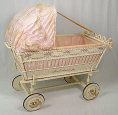 antique silk dressed, wicker baby bassinet with applied barbola trim ... ca. 1910-20