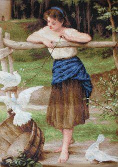 La muchacha que juega con las palomas