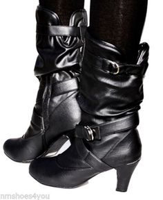 New-Women-High-Heel-Faux-Leather-Slouch-Kitten-Mid-Calf-Dress-Boots-Black-Ladies