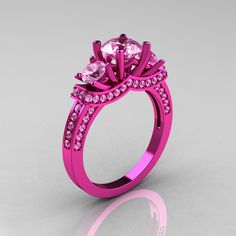 French 14K Pink Gold Three Stone Light Pink Sapphire Wedding Ring Engagement Ring R182-14KPGLPS - Perspective