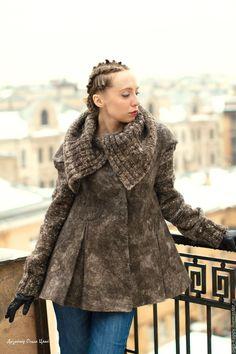 Купить Авторское полупальто ручной работы Перчинка - комбинированный, серо-коричневый, куртка, куртка женская