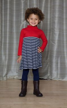 Yoked Pleated Dress - The Dragon and the Rabbit    -Leggings available at http://www.thedragonandtherabbit.com/categories/GIRLS/Pants-%26-Jeans/Leggings/