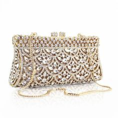 2015 Wholesale gold and sliver color crystal and rhinestone box shape women clutch evening bag