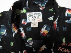 It's 5 O'Clock Somewhere Hawaiian Aloha Camp Shirt Big Dog Men's Large Rayon  #BigDogs #Hawaiian