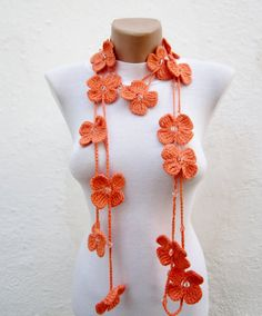Hand crochet Lariat Scarf Orange Flower Lariat Scarf by scarfnurlu