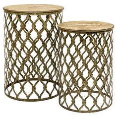 A perfect addition to your living room or den, these iron nesting tables showcases open latticework bases and a neutral palette.  Produc...