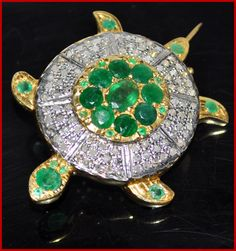 """""""Sea Tortoise"""" Price: $800    Tortoise 9.80ct ROSE CUT DIAMOND EMERALD .925 SILVER BROOCH ♥    Signature Victorian Collection....known for its international taste and appeal!    Imported, world-class quality, not pre-owned, not pawned, not stolen. WE DELIVER WORLDWIDE ♥"""