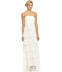 Sue Wong Beaded Tiered Lace Gown