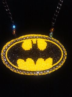 Beaded BATMAN pendant by BeadworkByAbriel (Abriel Johnny-Rodriguez / Quw'utsun, Tlingit, and Inuit) on Etsy