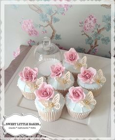 Vintage Rose and Butterfly Wedding Cupcakes