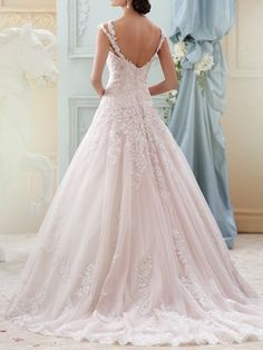 Ball Gown Straps Neckline Court Train Lace Wedding Gown With Applique