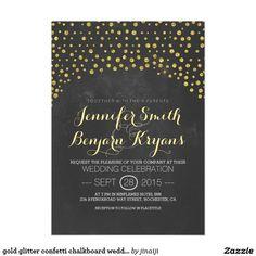 gold glitter confetti chalkboard wedding invites