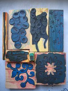 Lino Stamp Making Tutorial  http://tanygina.wordpress.com/2011/06/25/lino-stamp-fabric-printing-tutorial/