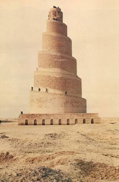 The Great Mosque of Samarra, Iraq, century (like a Babel Tower) Religious Architecture, Ancient Architecture, Art And Architecture, Amazing Architecture, Islamic World, Islamic Art, Non Plus Ultra, Tower Of Babel, Bagdad